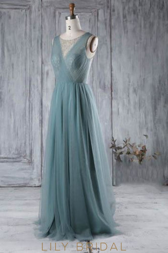 Jewel Neck Sheer Tulle Sweep Train Bridesmaid Dress With Beads