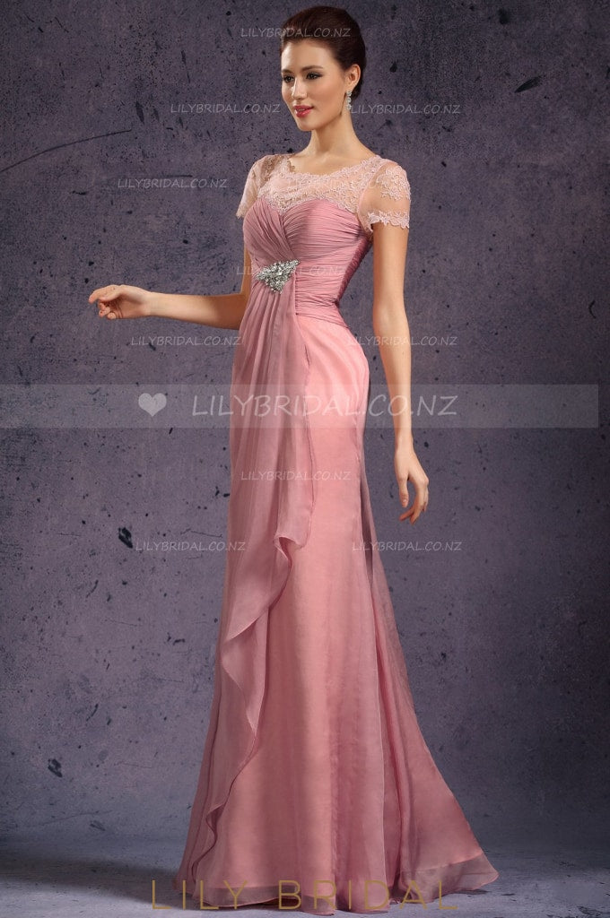 Jewel Neck Short Sleeve Sheer Lace Top Ruched Chiffon Overlap Bridesmaid Dress With Brooch