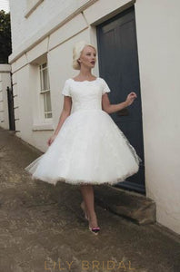 Jewel Neck Short Sleeve Spotted Short Wedding Dress With Lace Applique