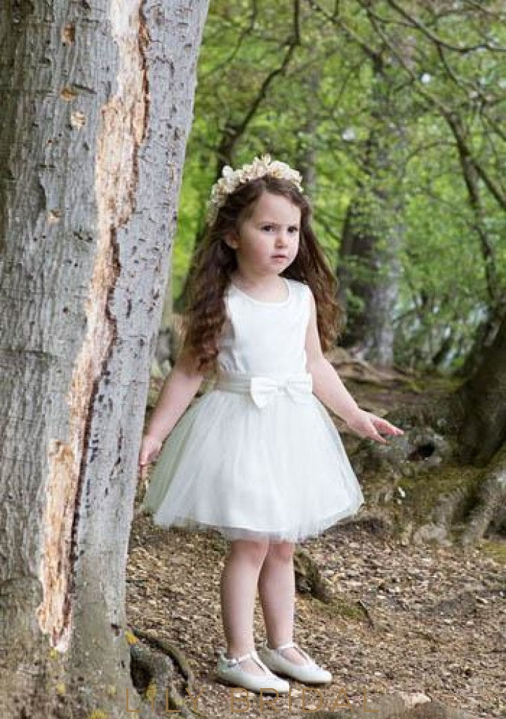 Jewel Neck Short Tulle A-Line Flower Girl Dress With Bowknot