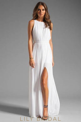 Jewel Neck Sleeveless Floor-Length Pleated Chiffon Bridal Dress With Belt