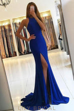 Elegant Jewel Neck Sleeveless Open Back Long Solid Stretch Mermaid Evening Dress