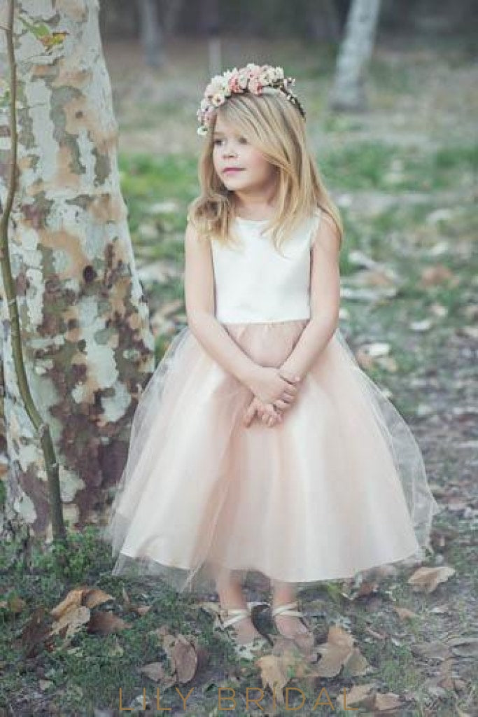 Jewel Neck Tea-Length Satin Tulle Flower Girl Dress With Bowknot Back Detail