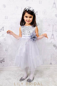Jewel Neck Tea-Length Satin Tulle Flower Girl Dress With Corsage