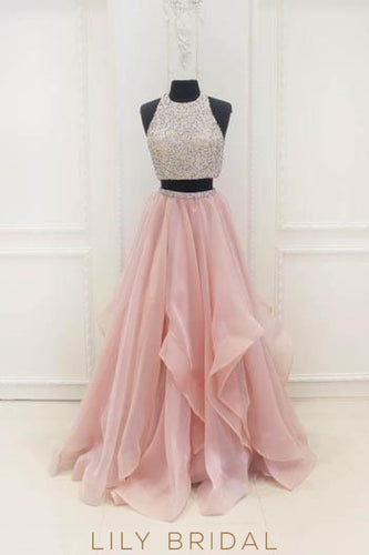 Jewel Neck Two-Piece Floor-Length Satin Chiffon Prom Dress With Beaded Top
