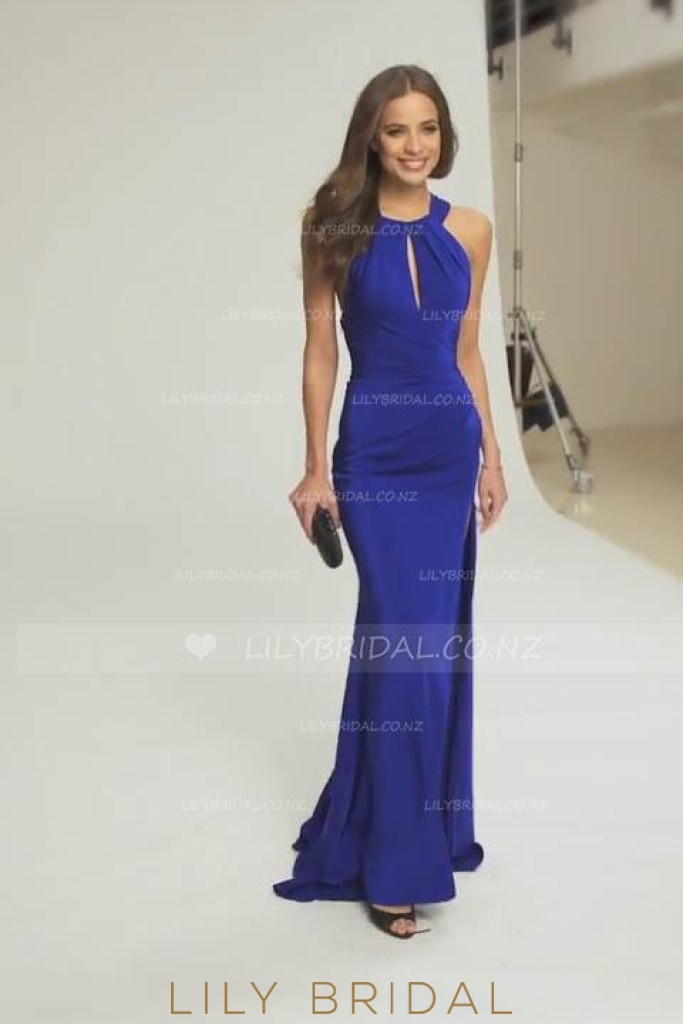 Jewel Neckline Criss-Cross Back Sweep Train Evening Dress With Side Slit
