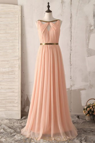 Chic Key-Hole Bateau Sleeveless Backless Long Solid Ruched Chiffon Bridesmaid Dress