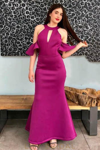 Key-Hole Jewel Neck Cold Shoulder Ankle-Length Solid Sheath Evening Dress