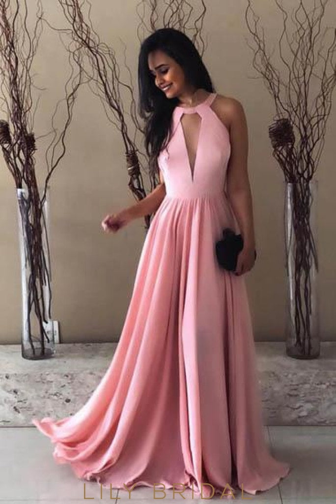 Key-Hole Jewel Neck Sleeveless Backless Long Solid Pleated Evening Dress