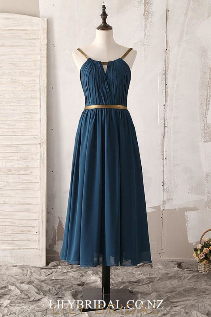 Chic Key-Hole Jewel Neck Sleeveless Open Back Tea-Length Ruched Bridesmaid Dress