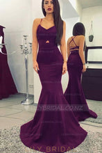 Key-Hole Spaghetti Straps Sleeveless Long Solid Stretch Mermaid Evening Dress