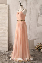 Key-Hole Spaghetti Straps Sleeveless Open Back Long Ruched Chiffon Bridesmaid Dress