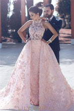 A-Line Keyhole Back Appliqued candy Pink Prom Dress With Overskirt