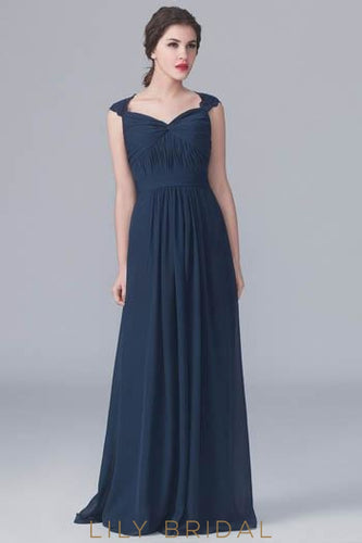 Keyhole Back Sweetheart Sweep Train Chiffon Bridesmaid Dress With Lace