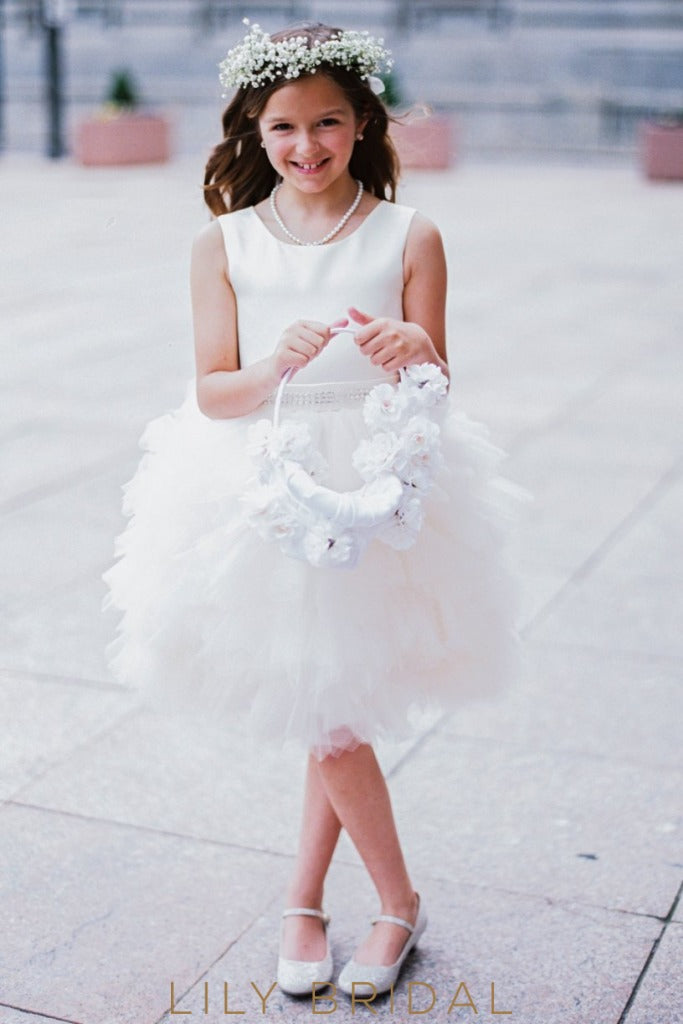 White Knee-Length Ruffled Tulle Ball Gown Flower Girl Dress With Satin Bodice