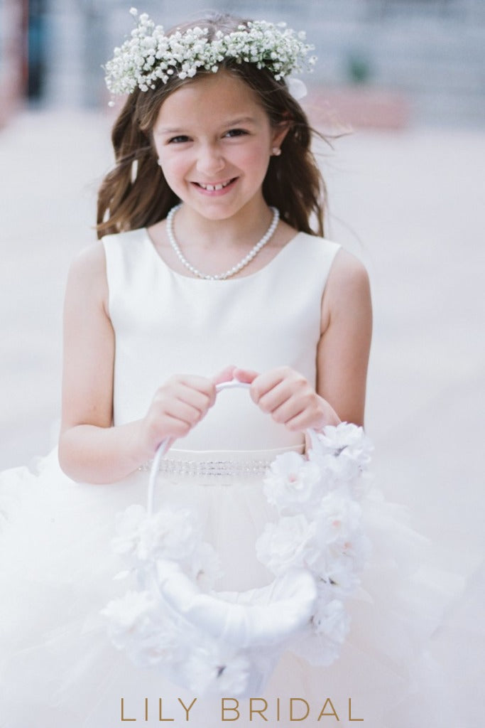 White Knee-Length Tulle Ball Gown Flower Girl Dress With Satin Bodice