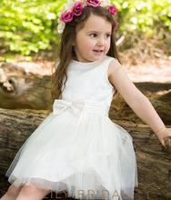 Jewel Sleeveless Knee-Length Flower Girl Dress With Bowknot