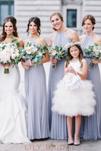 Knee-Length Beaded Satin Tulle Princess Flower Girl Dresses