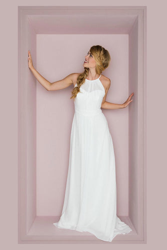 Elegant Jewel Neck Sleeveless Long Solid Sheath Chiffon Wedding Dress with Sweep Train