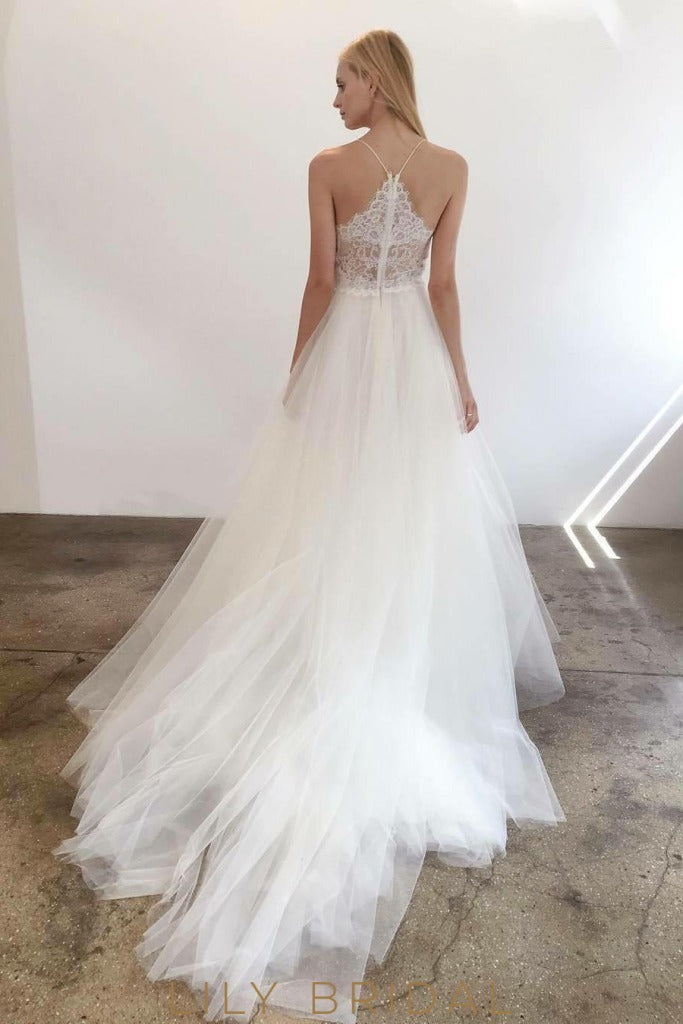 Tulle Lace A-line Sweetheart Wedding Dress Lace Illusion Back with Zip Style