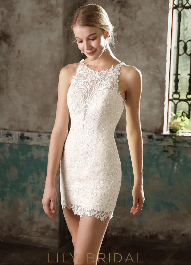 Ivory Lace and Chiffon Illusion Sleeveless Chapel Train Wedding Dress