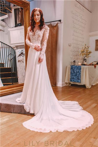 Lace Applique Illusion Plunging Neck Long Sleeves Long Chiffon Wedding Dress with Court Train
