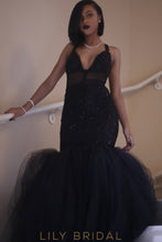 Lace Sequinned Sleeveless Plunging V-Neck Tulle Mermaid Prom Dress