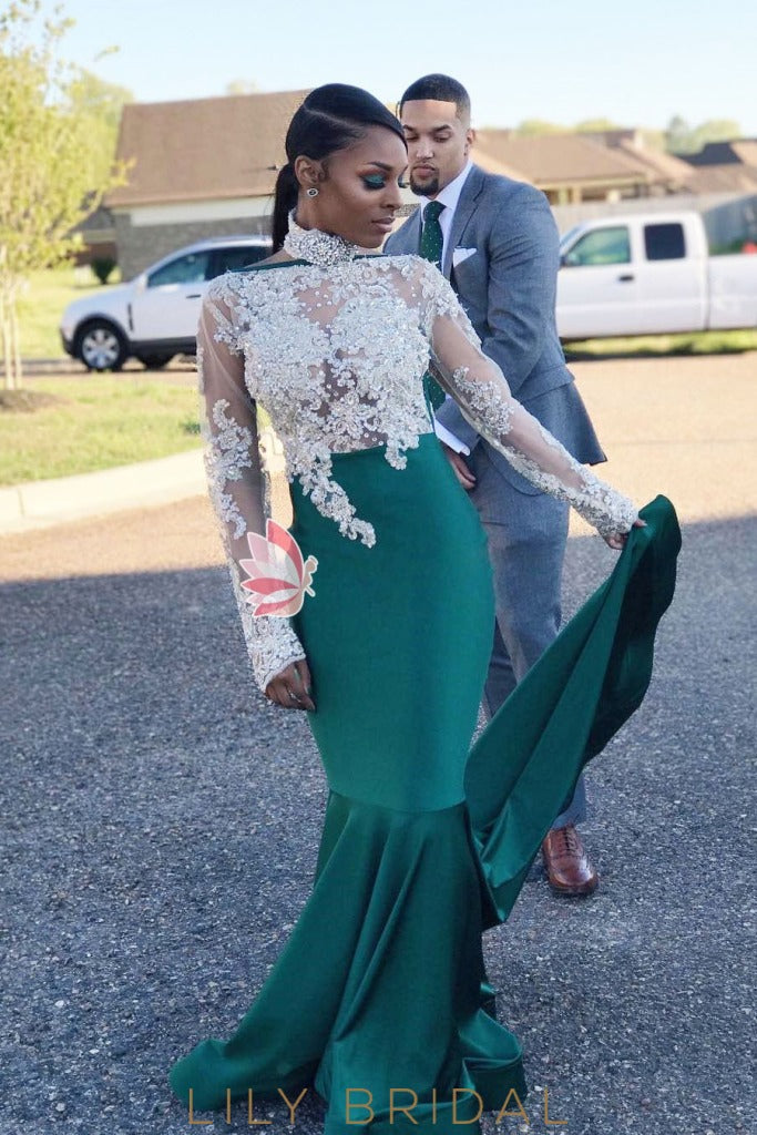 Halter Green High Neck Long Sleeve Sweep Train Prom Dress With Sheer Lace Bodice