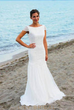 Lace Bateau Neck Cap Sleeves Open Back Long Solid Sheath Beach Wedding Dress