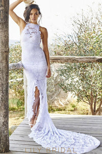 Elegant Lace Bateau Neck Sleeveless Open Back Long Solid Slit Sheath Wedding Gown