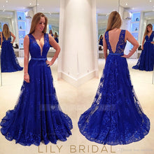 Lace Beading Deep V-Neck Sleeveless Long Solid Pleated Evening Dress with Sweep Train