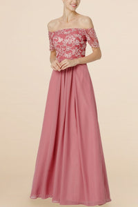 Lace Bridesmaid Dress Off Shoulder Short Sleeves Floor-Length Sheath Wedding Guest Dress