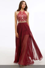 Lace Chiffon A-Line Jewel Neckline Criss-Cross Back Prom Dress