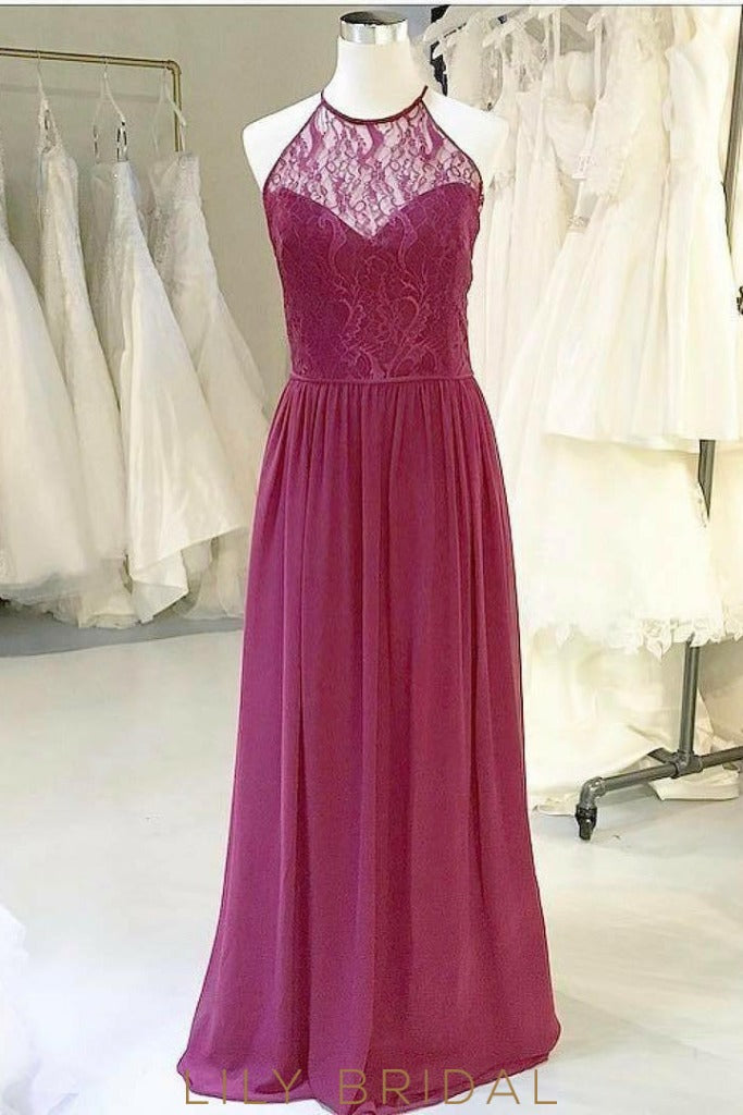 A-Line Halter Keyhole Back Floor-Length Burgundy  Bridesmaid Dress With Sheer Lace Top