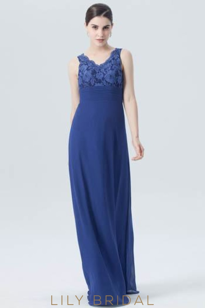 Lace Chiffon V-Neck Empire Waist Long Bridesmaid Dress in Royal Blue