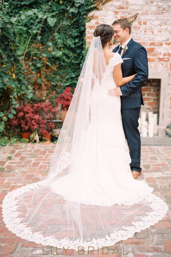 Lace Edge One-Layer Cathedral Wedding Veil