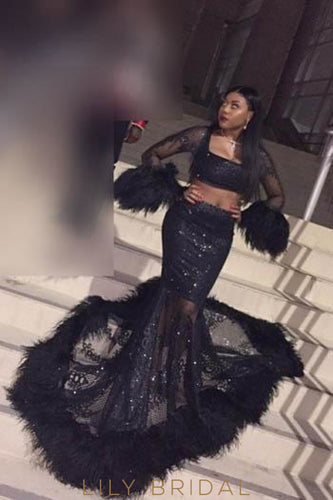 Lace Feathers Fur Illusion Square Neck Long Sleeves Two Piece Long Mermaid Prom Dresses