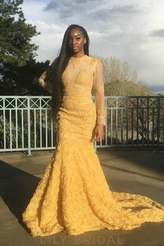 Lace Handmade Flower Illusion Scoop Neck Long Sleeves Long Mermaid Prom Dress