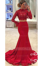 Elegant Lace High Neck Long Sleeves Two Piece Solid Stretch Mermaid Evening Dresses