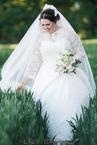 Lace Illusion Bateau Neck Long Sleeves Plus Size Floor-Length Ball Wedding Gown