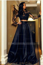 Lace Illusion Bateau Neck Long Sleeves Two Piece Floor-Length Evening Dresses