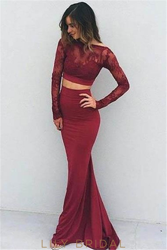 Lace Illusion Bateau Neck Long Sleeves Two Piece Long Solid Stretch Mermaid Evening Dresses