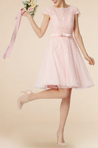 Lace Illusion Bridesmaid Dress Bateau Neck Short Sleeves Short Wedding Guest Dress