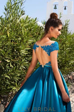 Short Sleeve Sheer Neck A-Line Floor-Length Satin Prom Dress With Lace Bodice