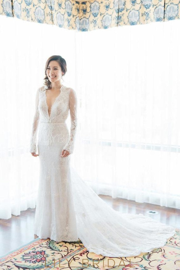 27b9fbef47f Lace Illusion Deep V-Neck Long Sleeves Long Solid Sheath Wedding Dress with  Court Train