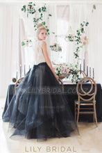 Lace Illusion High Neck Cap Sleeves Open Back Floor-Length Tulle Wedding Dress