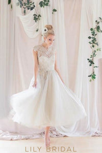 Lovely Lace Illusion High Neck Cap Sleeves Open Back Tea-Length Tulle Wedding Dress
