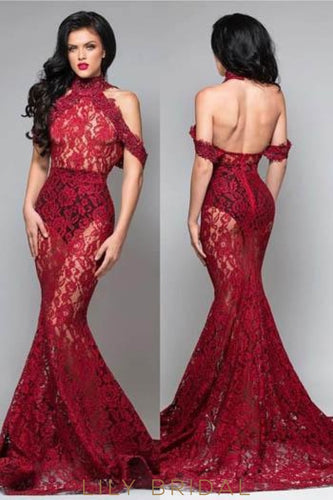 Elegant Lace Illusion High Neck Cold Shoulder Backless Long Mermaid Prom Dress