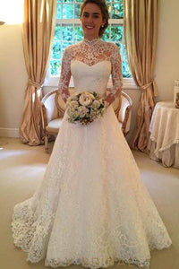 Elegant Lace Illusion High Neck Long Sleeves Open Back Long Solid Wedding Gown