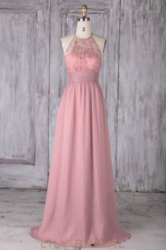 Lace Illusion Jewel Neck Sleeveless Long Ruched Sheath Chiffon Bridesmaid Dress